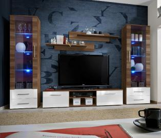 Telia 5 - white high gloss fronts and walnut wall unit