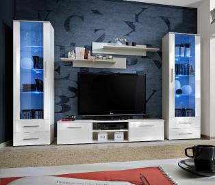Telia 1 - white high gloss fronts living room wall units