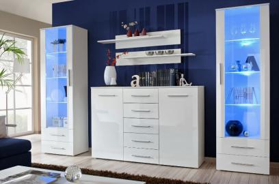 Monaco 3 - white high gloss fronts wall unit