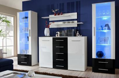 Monaco 6 - Black and white wall unit