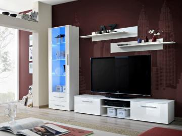 Montrose 4 - white high gloss fronts wall unit