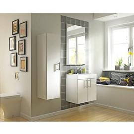 Wickes Talana White Gloss Wall- Hung Compact Vanity Unit with Doors - 600mm