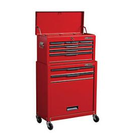 Hilka Heavy Duty 8 Drawer Tool Chest and Cabinet Combination Set - Red