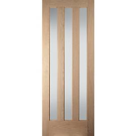 Jeld-wen York Internal Vertical3 Lite Obscure Glazed Oak Door - 1981 x 762mm