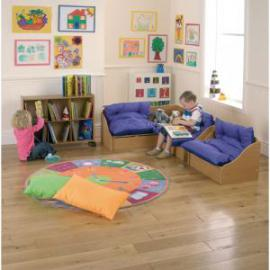 Infant 2 Seater Sofa in Wood Underseat Storage, 635 x 420 x 430mm