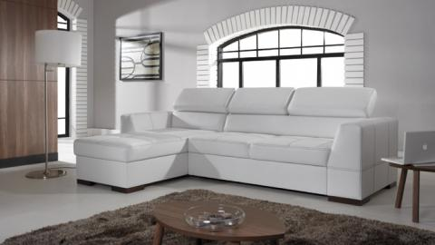 NEST III - Faux leather corner sofa