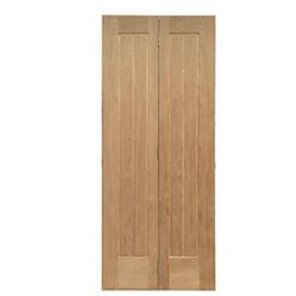 Wickes Geneva Oak Cottage 5 Panel Internal Bi-fold Door - 1981mm x 686mm