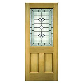 Wickes Avon External Oak Veneer Door Glazed 2 Panel 1981 x 762mm
