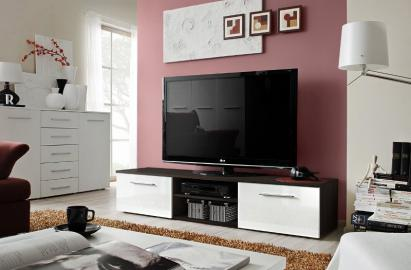 Soto 5 - High gloss white fronts and wenge tv stand