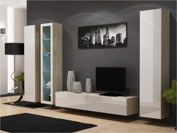 Seattle D1 - oak and white living room entertainment center