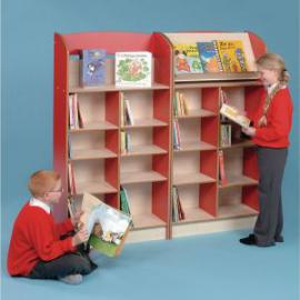 Single Sided Display Bookcase 750 x 325 x 1505mm, Free Standing Red