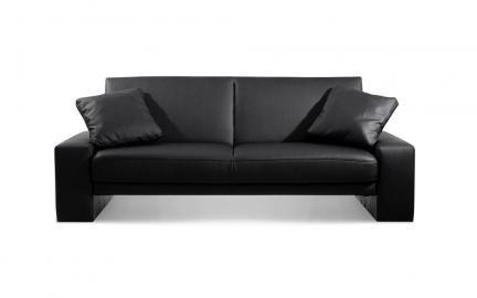 Supra Faux Leather Sofa Bed, 2 Seater Sofa Bed, Black