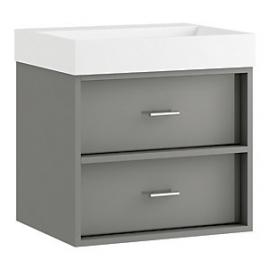 Wickes Alessano Grey Gloss Wall Hung Vanity Unit - 600 mm