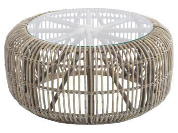 Toba Rattan Coffee Table with Glass Top