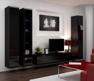 Seattle 2 - black living room entertainment center