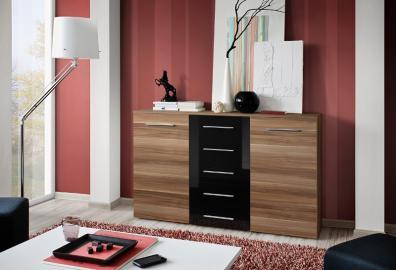 SB FOX 10 - Plum & black 5 drawer dresser