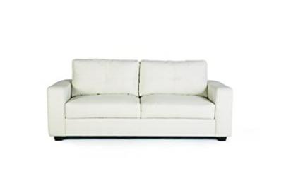 Sofa with Stitched Design in White Leatherette