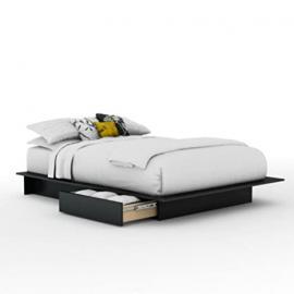 Full/Queen Black Wood Platform Bed 3 Piece Bedroom Set