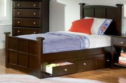 Full Sleigh Bed in Cappuccino Finish