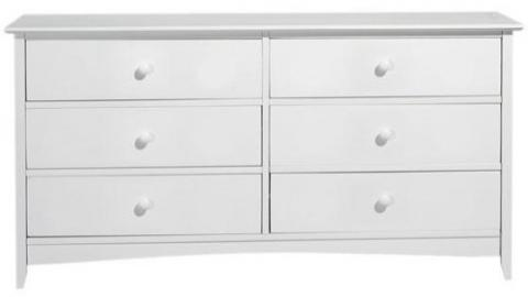 "Hawthorne 44""w Six drawer Dresser, 25""Hx44""W, WHITE"