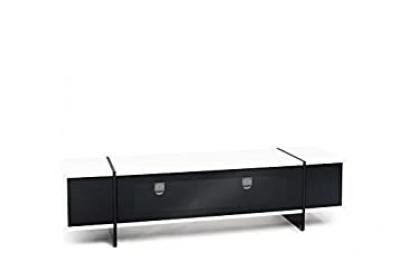 TECHLINK ED160WT Edge TV Stand with White Real Wood Veneer and Infra Red Friendly Black Glass for Screens up to 80-Inch