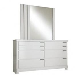 Standard Furniture Metropolitan 6 Drawer Dresser w/ Mirror in Glossy White