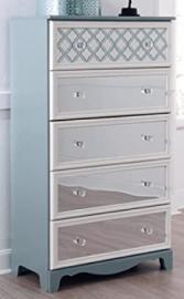 Mivara Light Blue/White Five Drawer Chest