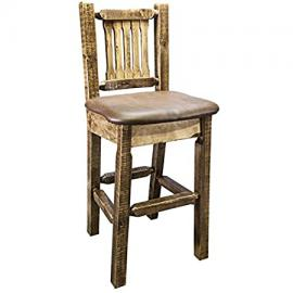 Homestead Barstool with Upholstered Saddle Pattern Seat
