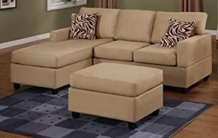 3 Piece Hazelnut Finish Microfiber Sectional Sofa by Poundex