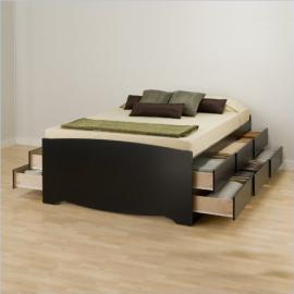 Prepac Sonoma Black Tall Queen Wood Platform Storage Bed 3 Piece Bedroom Set