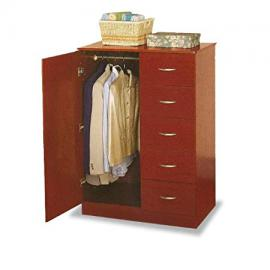 Cherry Finish Tuxedo Wardrobe Bedroom Storage Dresser