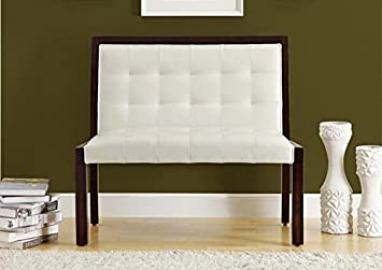 "TAUPE LEATHER-LOOK / CAPPUCCINO WOOD 40""L BENCH (SIZE: 40L X 24W X 36H)"