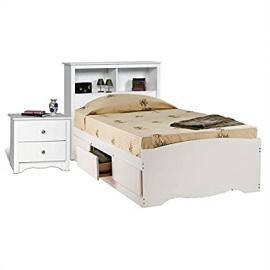 Prepac Monterey White Twin Platform Storage Bed 6 Piece Bedroom Set