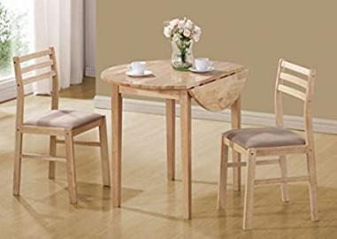 Monarch Specialties I 1006 36 in. Dia. Natural Dining Set With a Drop Leaf Table - 3 Pieces