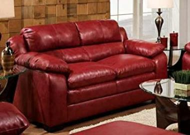 Jeremy Padded Bonded Leather Loveseat In Cardinal Finish by Acme Furniture