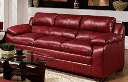 Acme 50595 Jeremy Sofa, Cardinal Red Bonded Leather Match