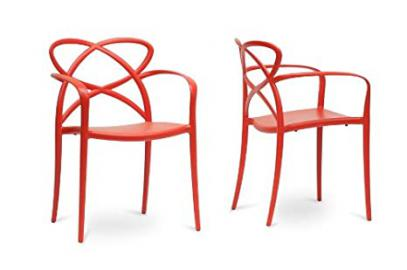 Huxx Red Plastic Stackable Modern Dining Chair with Chanasya Polish Cloth Bundle (Set of Two)