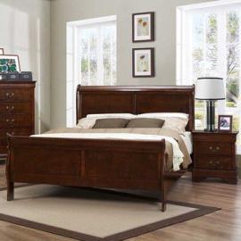Homelegance Mayville 2 Piece Sleigh Bedroom Set in Brown Cherry