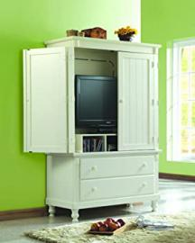 Homelegance 875 Pottery TV Armoire White Sand-Through