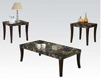 Coffee Table Set with Black Faux Marble Top by Acme Furniture