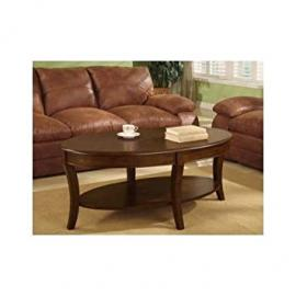 Oval Walnut Living Room Coffee Table with Bottom Storage Shelf. Accent, Hall or Telephone Table Perfectly Suited to Make an Ideal Home Furniture Addition to Any Room