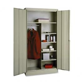 "Tennsco Combination Wardrobe/Storage Cabinet - 36"" x 18"" x 72"" - Security Lock - Putty"