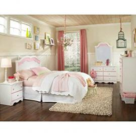 Standard Furniture Bubblegum 5 Piece Headboard Bedroom Set in White & Pink