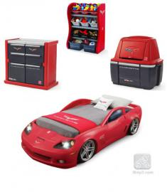 Car Bedroom Furniture Red Corvette Dresser Storage Combo