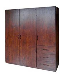 Home Source Industries 9129 Wardrobe with Space for Hanging-Drawer and Shelves, Walnut