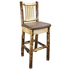 Glacier Country Barstool with Upholstered Saddle Pattern Seat
