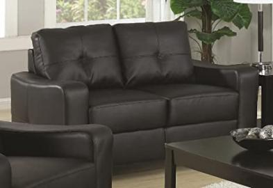 Loveseat with Stitched Design in Black Leatherette