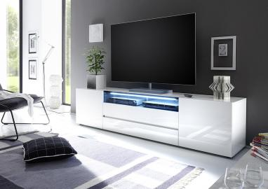 Vicenza 203- Lowboard TV Stand – two doors – two drawers - lacquered high gloss - white - MDF