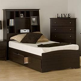 Prepac Manhattan Twin Tall Bookcase Platform Storage Bed in Espresso