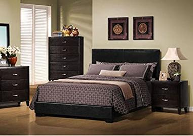 Monarch Black Leather-Look Queen Size Bed